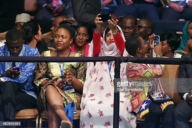 A young woman takes a selfie during the Young African Leaders Initiative Mandela Washington Fellowship Presidential Summit at the Omni Shoreham Hotel...