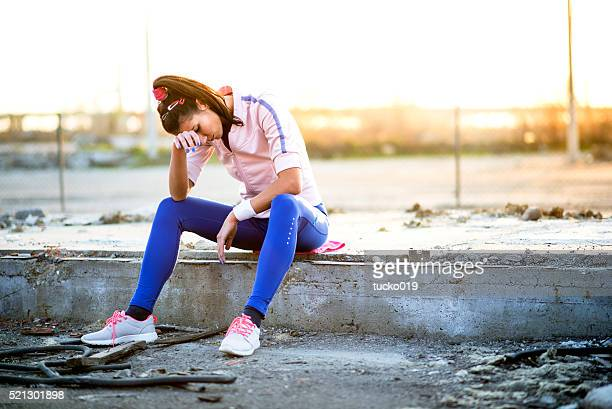 Young woman taking a break