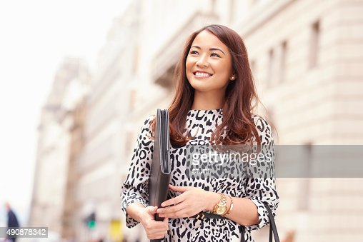 young woman taking her cv to the city