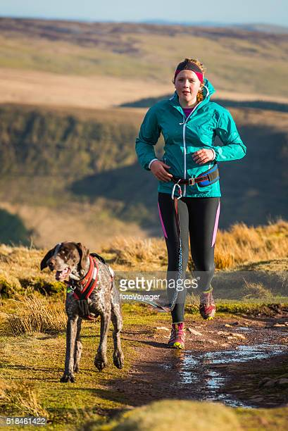 Young woman trail running on mountain ridge with canicross dog
