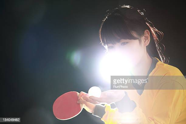 young woman training,table tennis