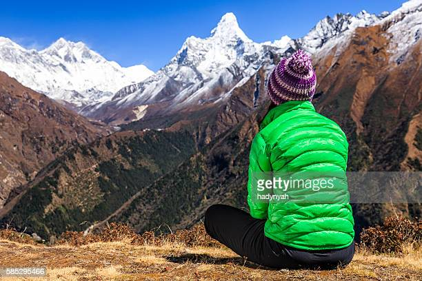 Young woman trekking in Himalayas, Mount Everest National Park