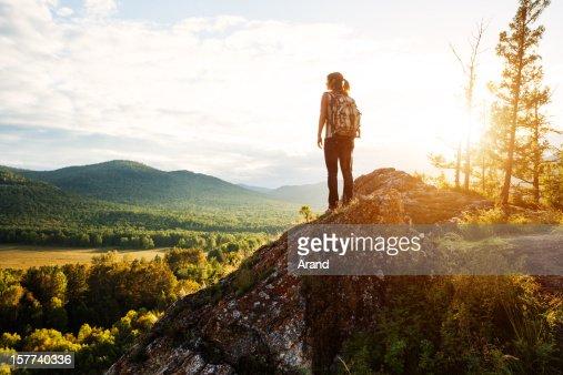 young woman trekking