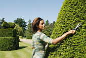 Young woman trimming hedge in park