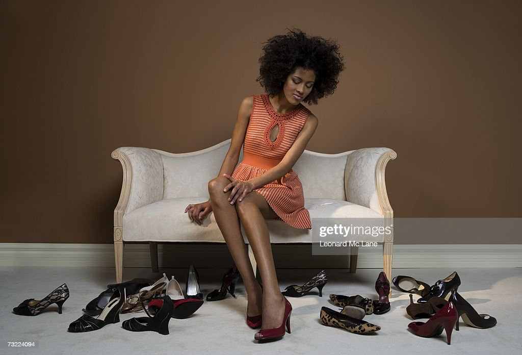 Image result for Black woman trying on shoes