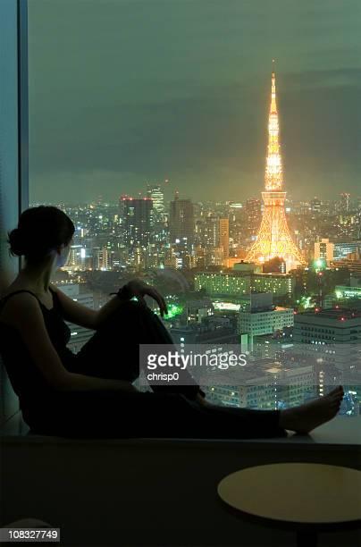 Young Woman Viewing Tokyo at Night
