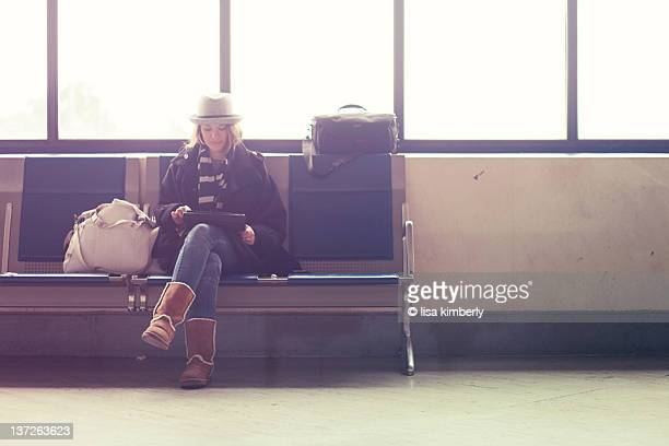 Young woman waiting in airport