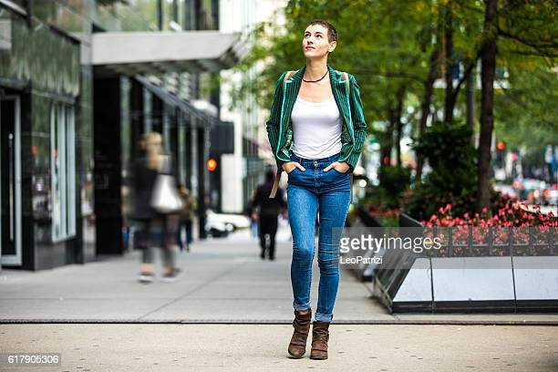 Young woman walking for shopping in downtown Chicago