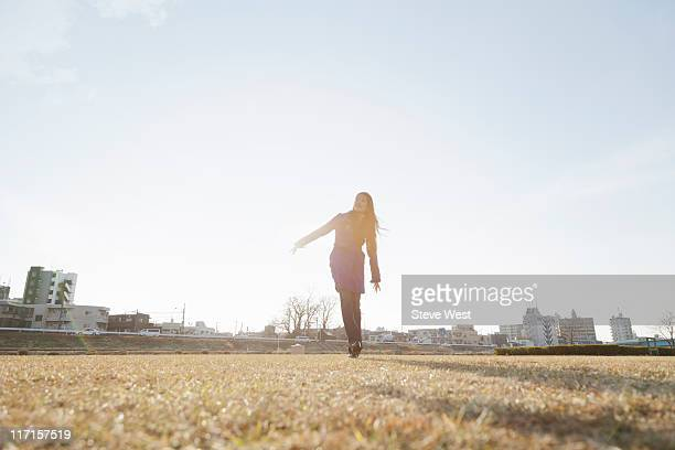 Young woman walking in nature