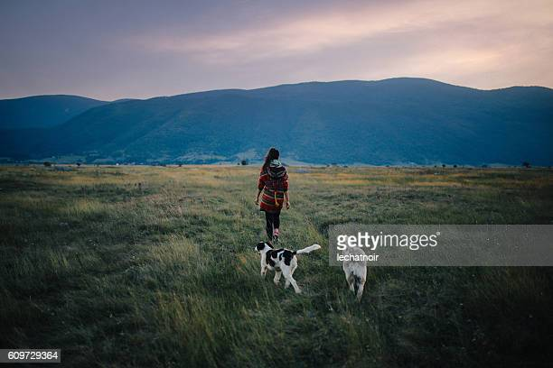 Young woman walking in the wilderness
