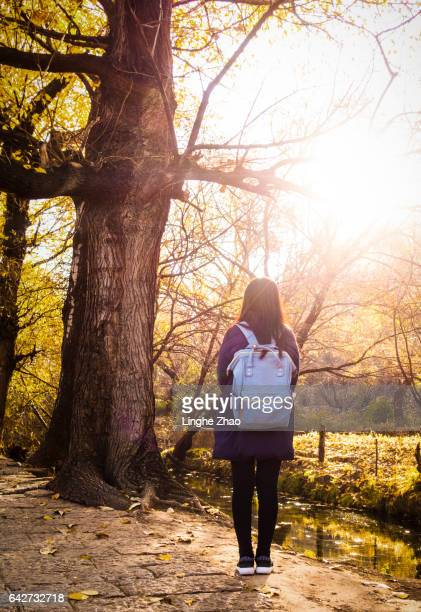 Young woman walking in the woods