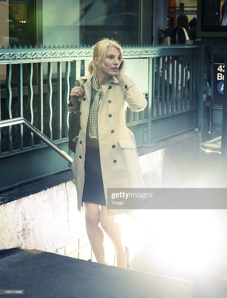 Young woman walking : Stock Photo