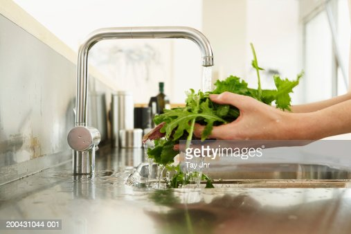 Young woman washing lettuce at kitchen sink, close-up of hands : Stock Photo