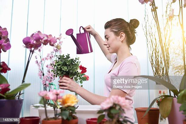 Young woman watering flowers in her home