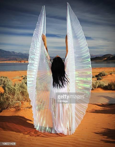 Giovane donna con ali di angelo nel deserto