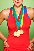 Young woman wearing medals