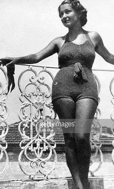 Young Woman Wearing Swimwear in 1930. Black And White