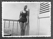 Young Woman Wearing Swimwear in 1934. Black And White