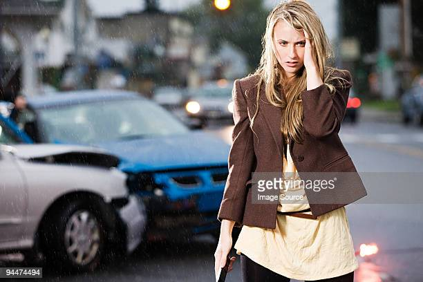 Young woman who has been in an accident