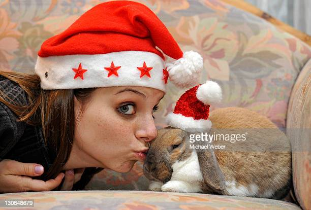 Young woman with a dwarf lop bunny or rabbit (Oryctolagus cuniculus), wearing Santa hats, love of animals