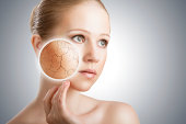 concept of cosmetic effects, treatment and skin care.  face of young woman with dry skin