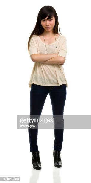 Young Woman With Attitude Standing Full Length Portrait