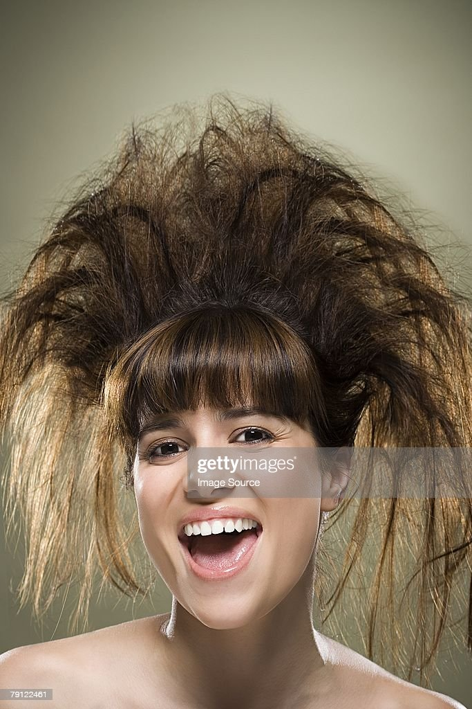 Young woman with backcombed hair