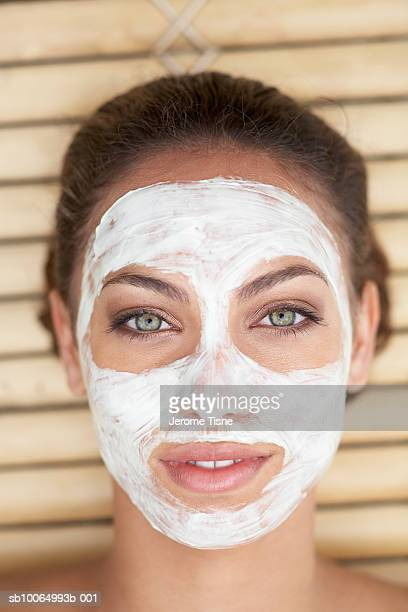 Young woman with beauty mask, portrait, close-up