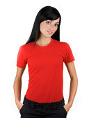 Young woman with blank red shirt