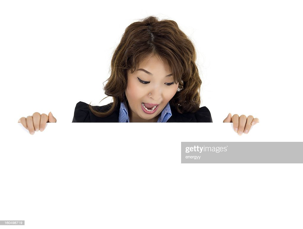 young woman with blank sign : Stock Photo