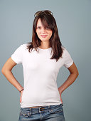 Young woman with blank white shirt