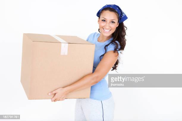 Young Woman with Cardboard Moving Box