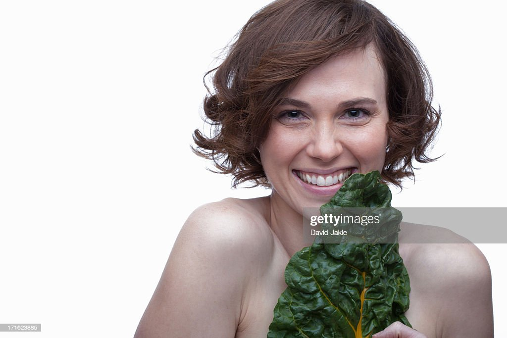 Young woman with chard : Stock Photo