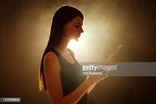 Young woman with digital tablet.