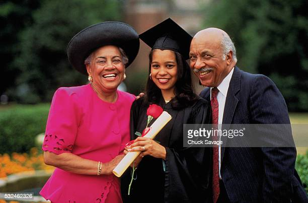 Young woman with family at graduation