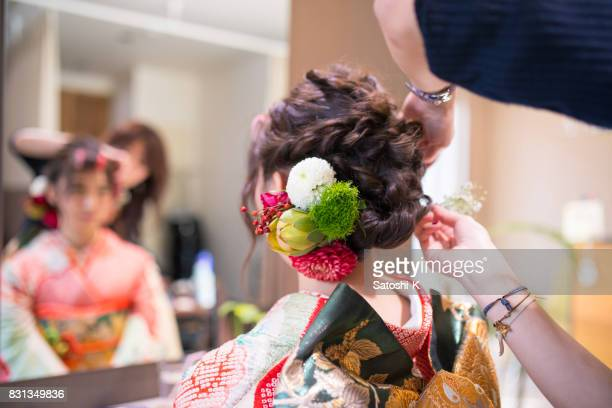 Young woman with gorgeous hair accesory
