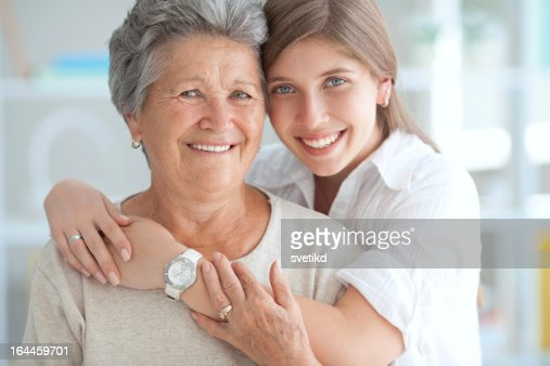 Young woman with grandmother. : Stock Photo