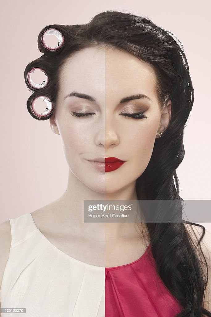 young woman with half plain and half made up face : Stock Photo