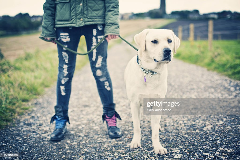 Young woman with her dog : Stock Photo