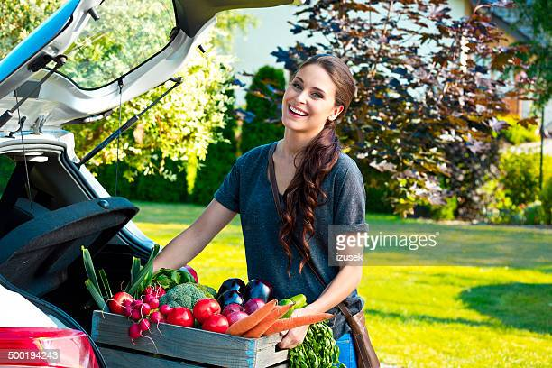Young woman with organic food