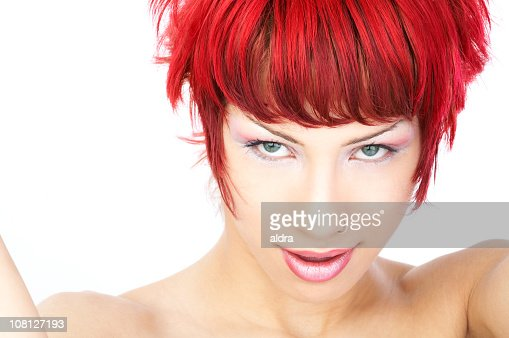 Young Woman With Red Hair and Make-Up