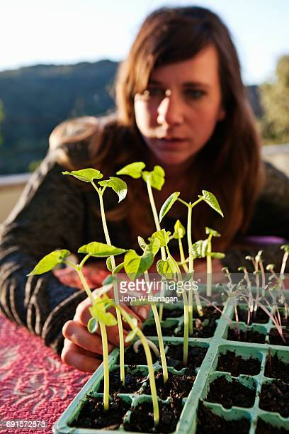 Young woman with seedlings.