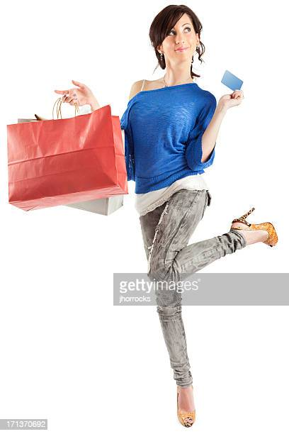 Young Woman with Shopping Bags and Blank Credit Card