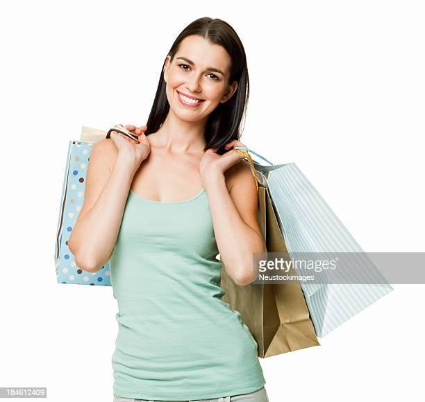 Giovane donna con borse della spesa isolati