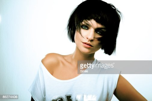 young woman with short black hair