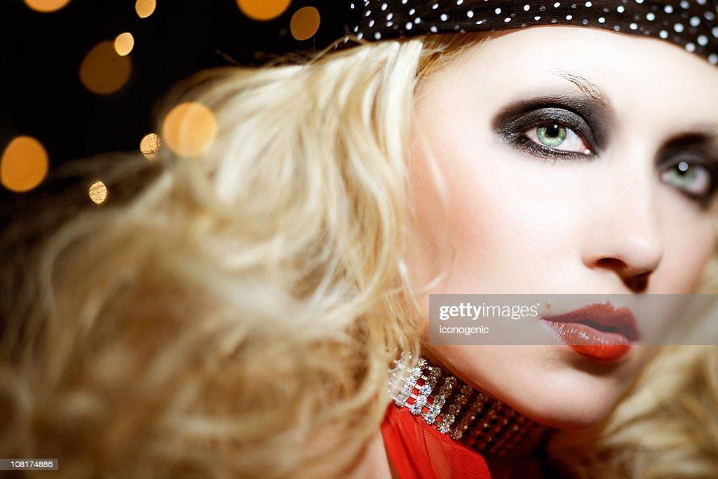 Young Woman with Smoky Eye Make-up