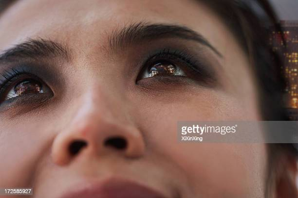 Young Woman with Smoky Eyes Close-Up