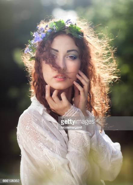 Young woman with spring flowers