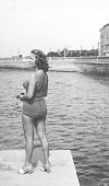 Young woman with swimwear in 1934. Black and white photography