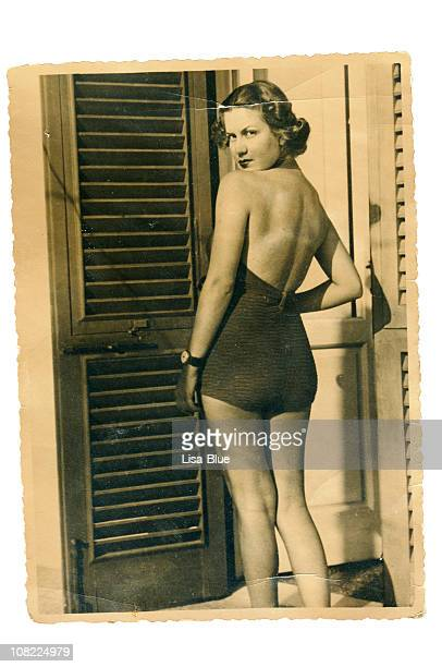 Young Woman with Swimwear in 1935. Black And White